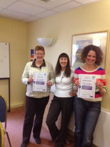 Gaenor and Wendy with Jan and certificates